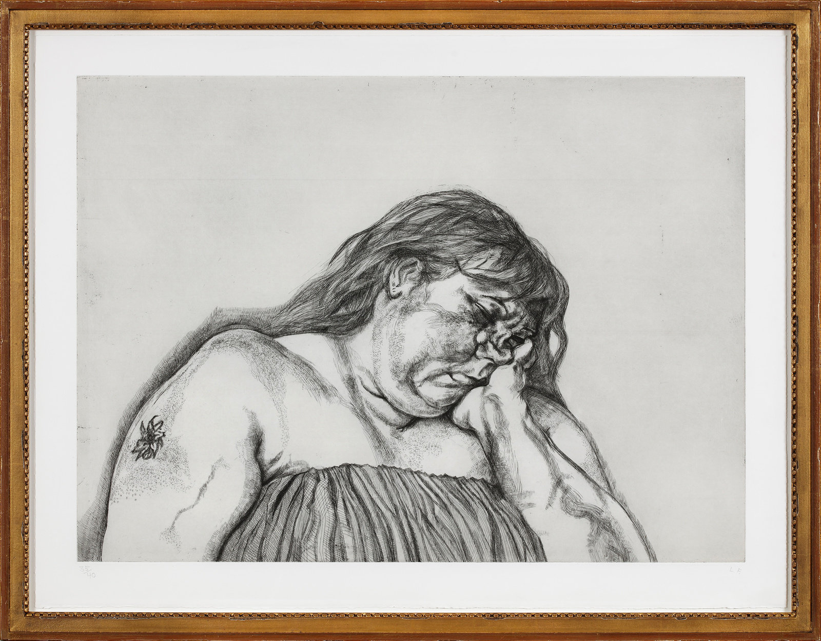 Freud, woman with an arm tattoo, 1996, etching, edition of 40, 27 1 2 x 36 in., 70 x 91.5 cm, 350828