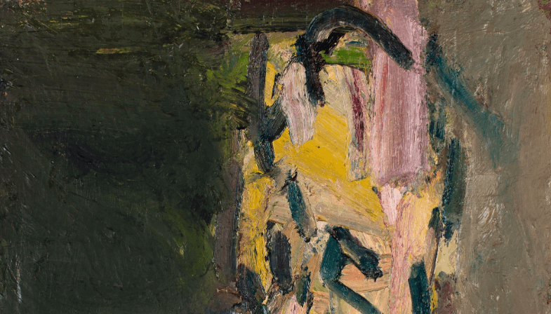 A brushy oil painting by Frank Auerbach
