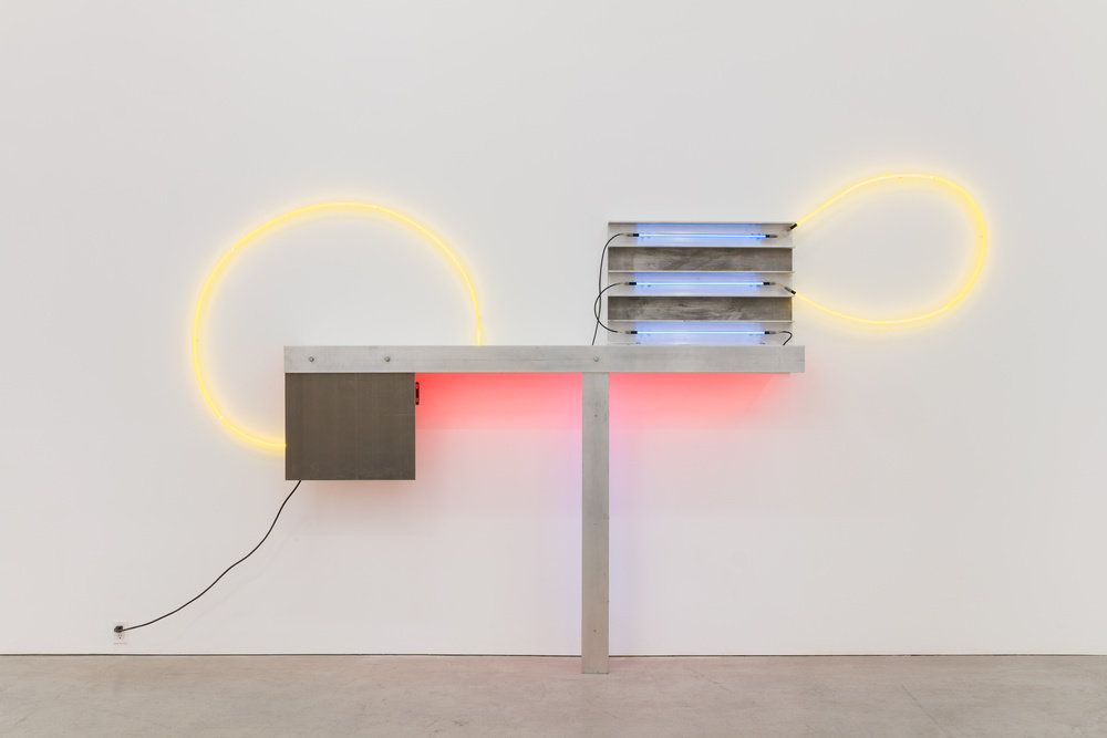 A neon and aluminum sculpture by Keith Sonnier.