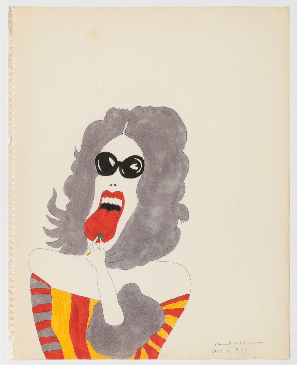 A color ink on paper drawing by Karl Wirsum of a grey-haired figure wearing dark sunglasses and a striped garment.They are sticking their tongue out and placing a small, round, green object onto it.
