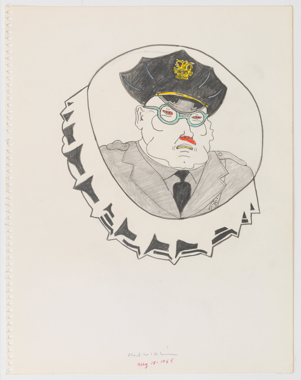 A graphite and color pencil on paper drawing by Karl Wirsum that depicts a male police officer on the face of a bottle cap.