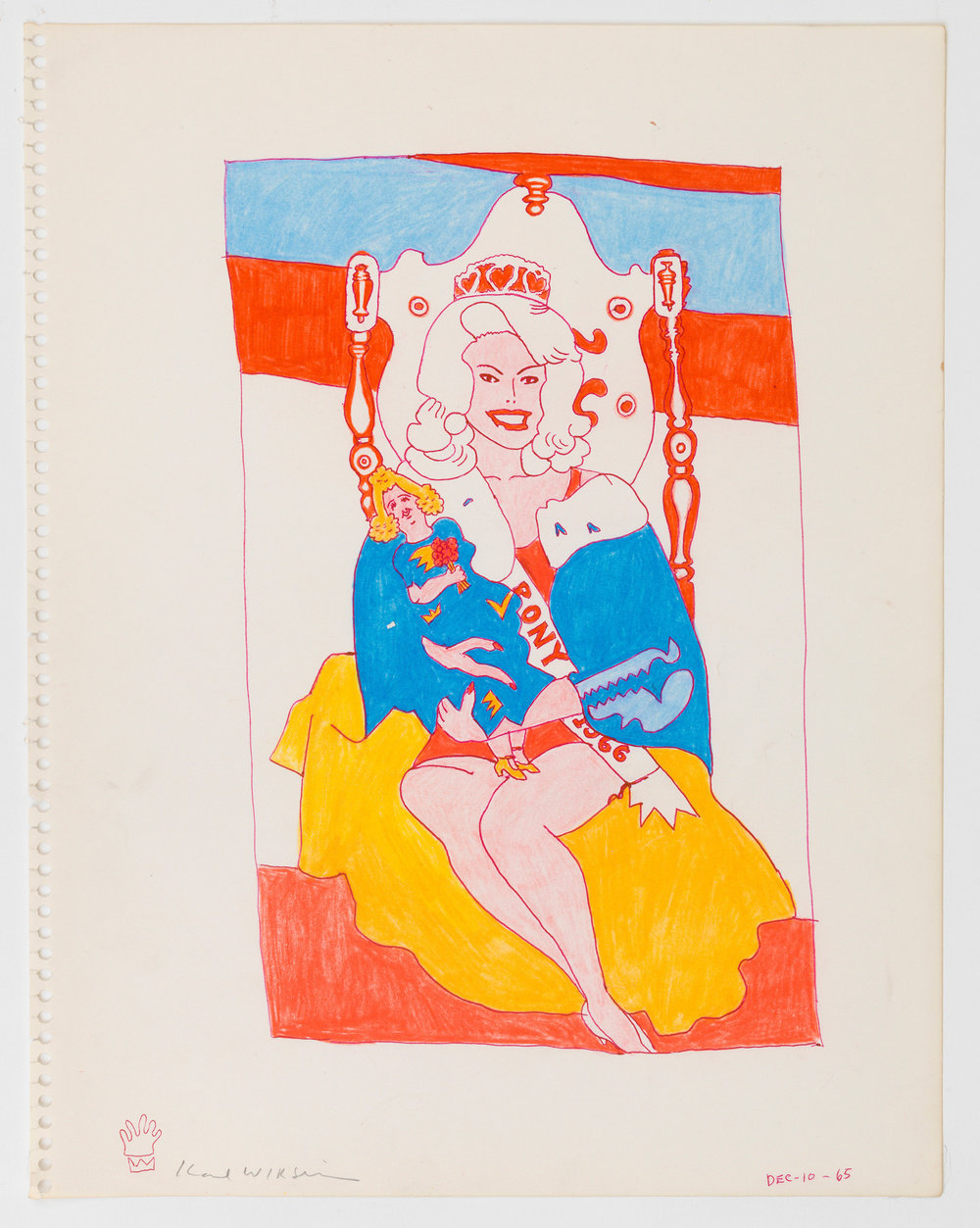 A color ink on paper drawing by Karl Wirsum of a smiling, female figure, seated on a throne wearing a sash and crown and holding a doll.
