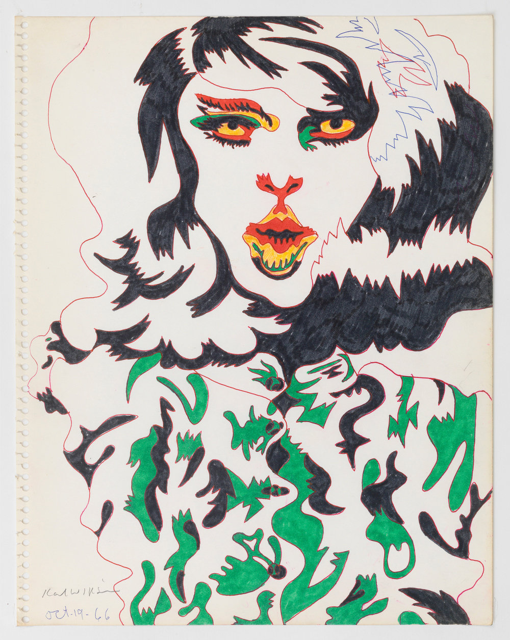 A color ink on paper portrait of a long-haired figure by Karl Wirsum wearing a green and black patterned garment with multicolored eyes and mouth.