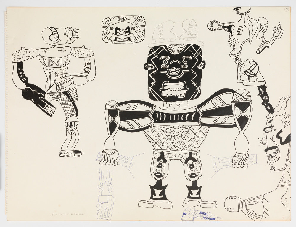 A black ink on off-white paper drawing by Karl Wirsum that depicts several abstracted, anthropomorphic figures.