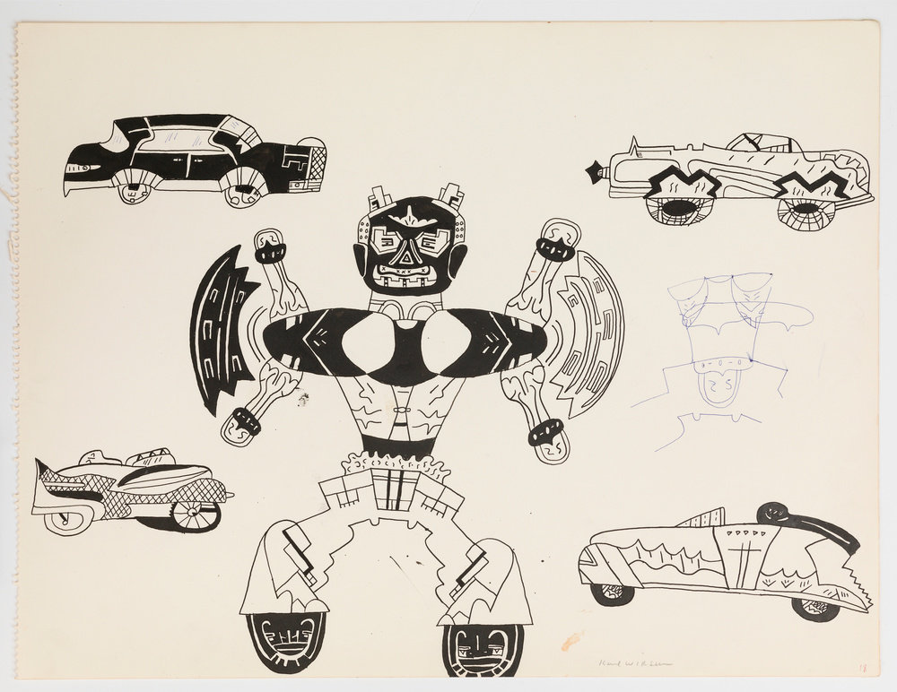 An ink on off-white paper drawing by Karl Wirsum that depicts a central anthropomorphic figure surrounded by four, idiosyncratic, old-fashioned, automobiles.
