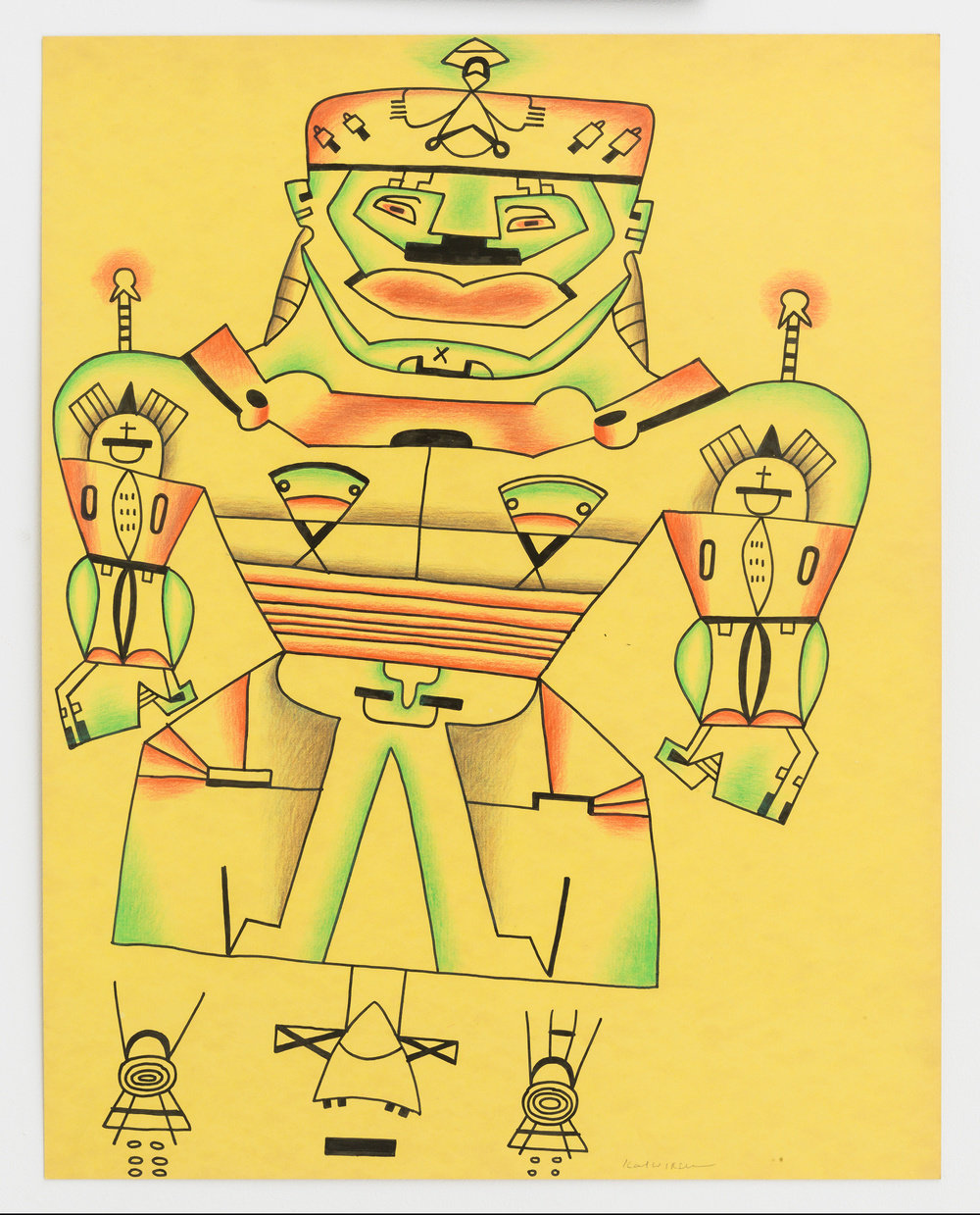 An ink and color pencil on yellow paper drawing by Karl Wirsum of an abstract figure with sharp outlines, with touches of soft green, red and grey.