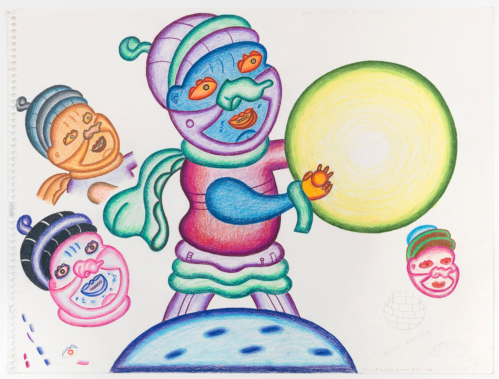 A color pencil and graphite on paper drawing by Karl Wirsum of an abstracted, colorful figure holding a yellow and green orb, surrounded by the faces of three additional figures.