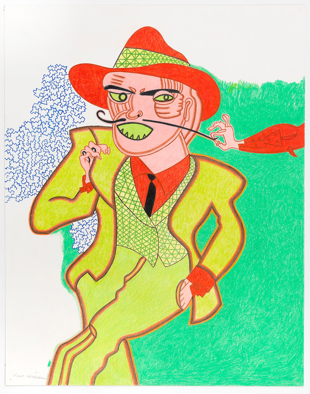 A color pencil and graphite on paper drawing by Karl Wirsum of a figure in a green suit, red shirt and red hat on a mostly green background. A hand emerging from out of frame is pulling on the figures mustache.