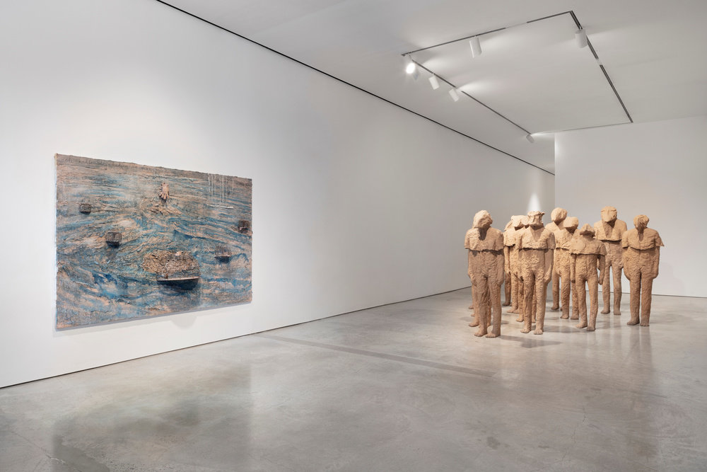 Installation view by magdalena abakanowicz and anselm kiefer marlborough new york