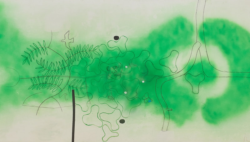 Victor Pasmore, Untitled, 1993, oil, spray paint and pencil on board, 48 x 96 in. / 121.9 x 243.8 cm