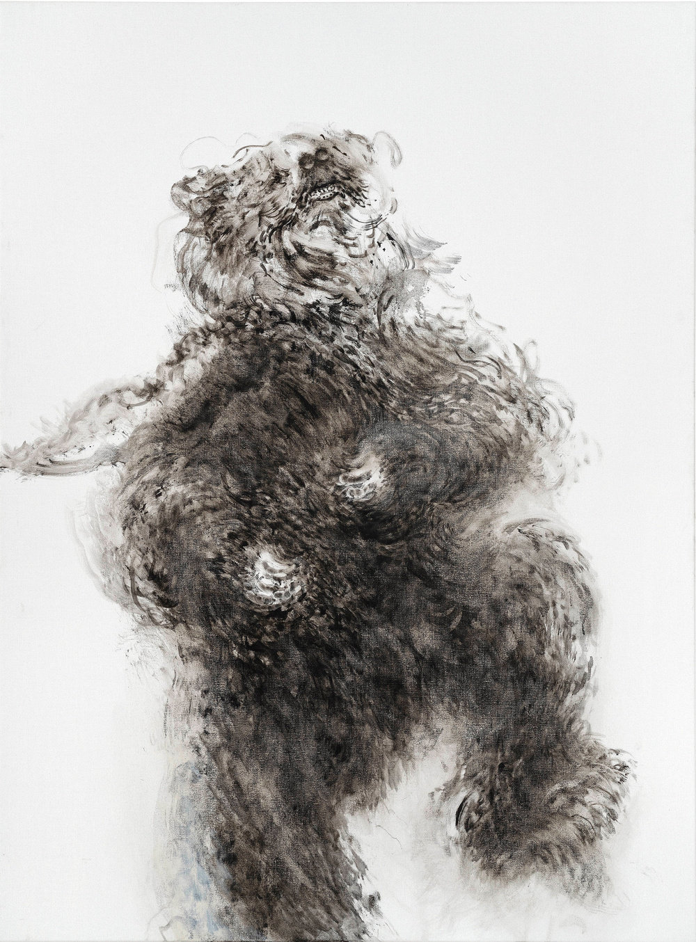 Maggi Hambling, Young Dancing Bear, 2019, oil on canvas. Depicted is a young dancing bear, center to the canvas, animated in movement, gazing up into empty white space above.